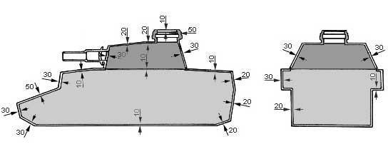 Как видно на рисунке танк